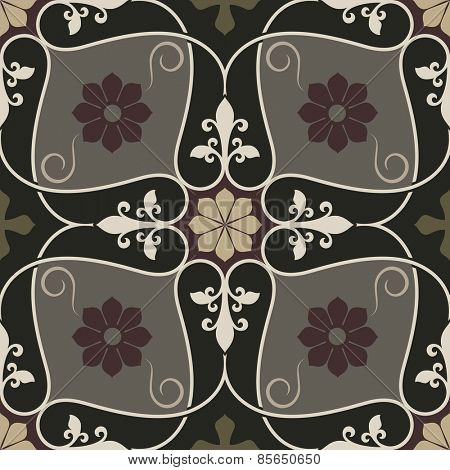 Abstract seamless vintage flower vector pattern.