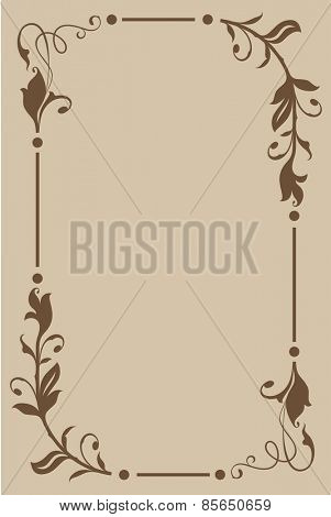 Abstract beige and brown floral vintage frame design with copy space.