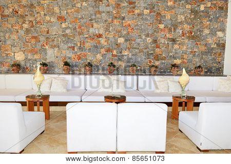 The Lounge Area Near Reception In Luxury Hotel, Crete, Greece