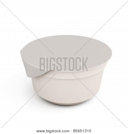 White Food Kontener For Yogurts On A White
