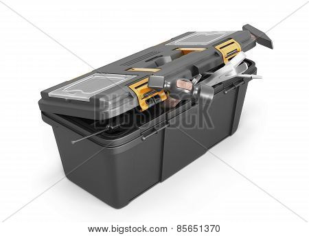 Box With Tools On A White