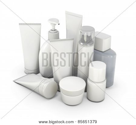 Cosmetic Set From Various Means On A White