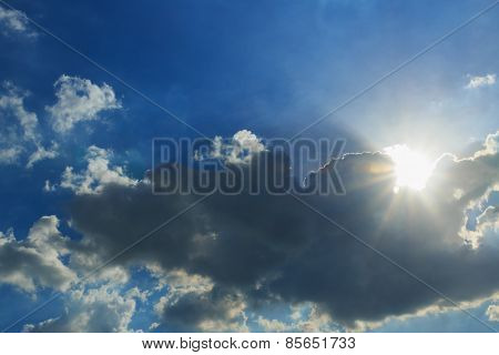 Blue Sky With  Sun Ray