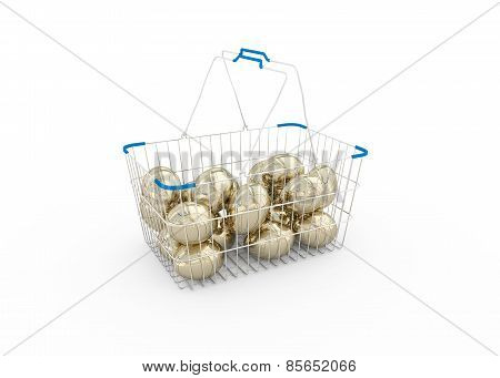 Shoping Basket With Gold Eggs
