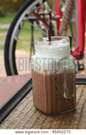 Ice Chocolate And Milk In Glass