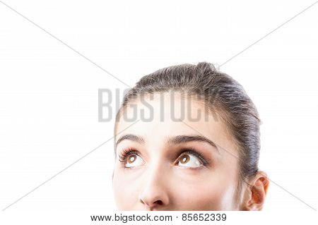 Beautiful Woman Looking Up