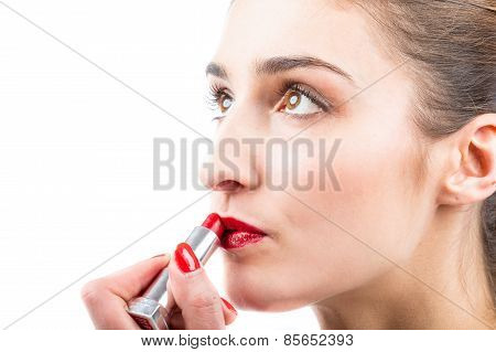 Pretty Woman Applying Lip Gloss Make Up