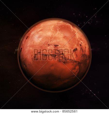 Постер, плакат: Mars The Red Planet, холст на подрамнике
