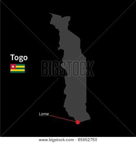 Detailed map of Togo and capital city Lome with flag on black background