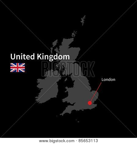 Detailed map of United Kingdom and capital city London with flag on black background
