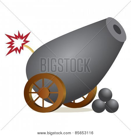 An image of a cannon with a lit fuse.