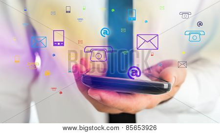 Businessman Holding Phone For Contact Concept