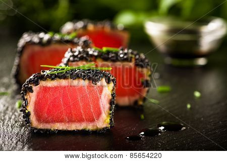 Fried Tuna Steak In Black Sesame