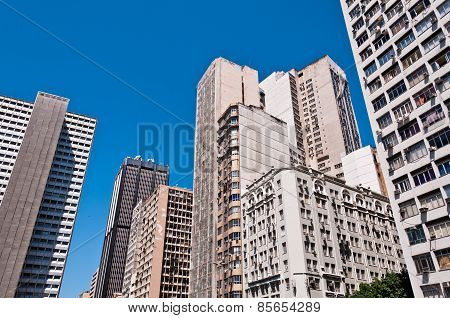 Old Commercial Skyscrapers in Downtown Rio de Janeiro, Brazil