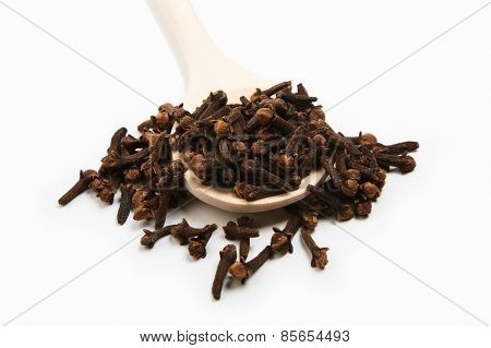 Cloves Spice In A Wooden Spoon Close-up