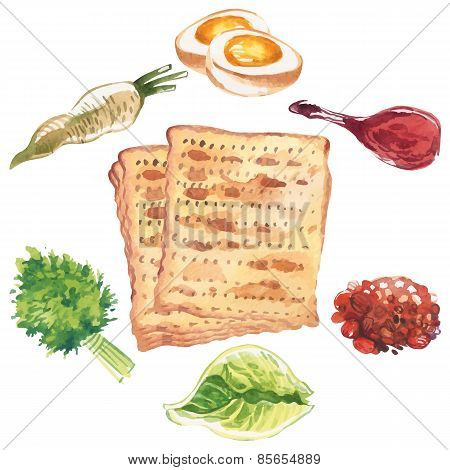 Happy Jewish Passover Greeting Card. Vector Illustration