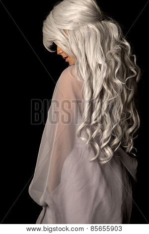 Woman Gray Hair From Back Stand On Black Turn Look Down
