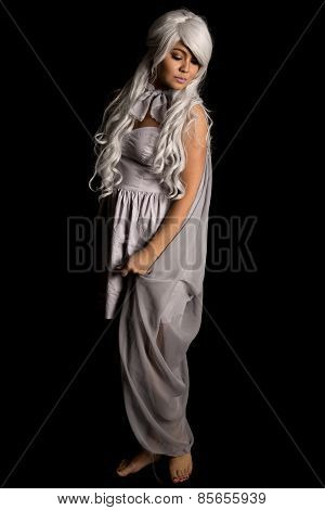 Woman Gray Hair Full Body Looking Down