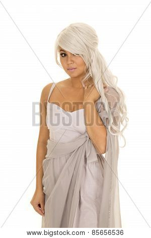 Woman With Gray Hair Stand Arm On Shoulder Looking