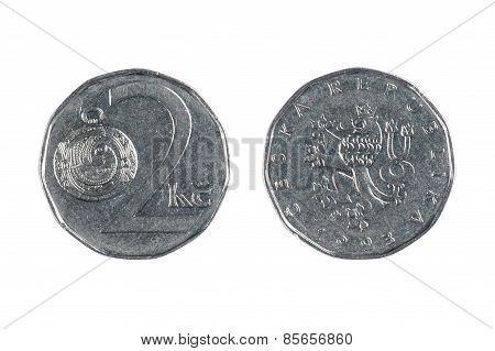 Czech Coin On White
