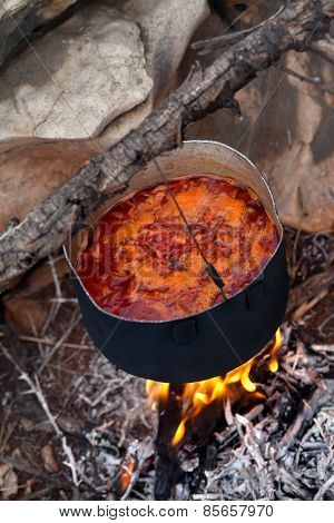 Cooking Borscht (ukrainian Soup) On Campfire