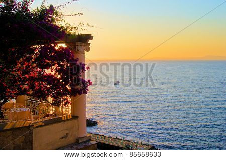 Amalfi coast sunset, Italy