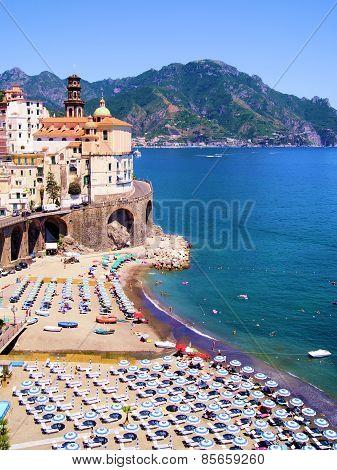 Amalfi coast village and beach