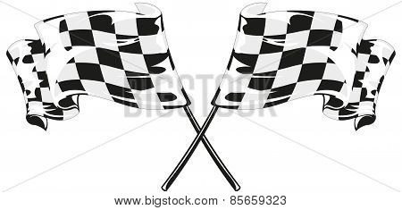 Two checkered flags on a white background