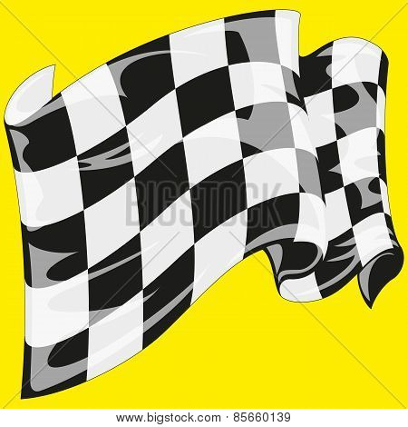 checkered flag on yellow background