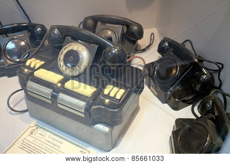 MOSCOW - APR 05, 2014: Desk telephone concentrator to connect the city and local lines in the Museum of the History telephone in Moscow