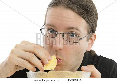 Close Up Of Man Eating Junk Food
