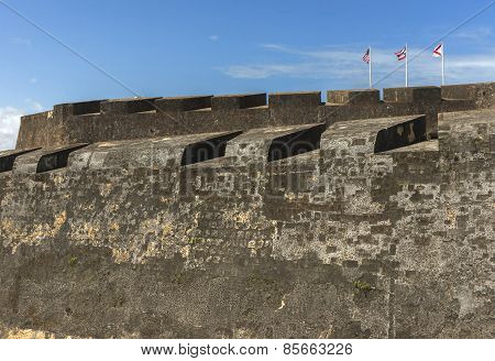 Three Flags On Top Of Castillo San Christobal.