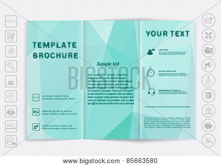 Tri-fold Brochure Mock Up Vector Design. Polygonal Background.