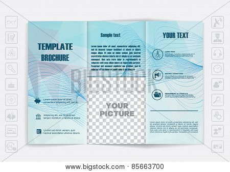 Tri-fold Brochure Mock Up Vector Design. Polygonal Background Background.