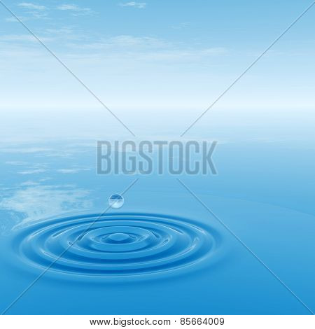Conceptual blue liquid drop falling in water with ripples and waves background