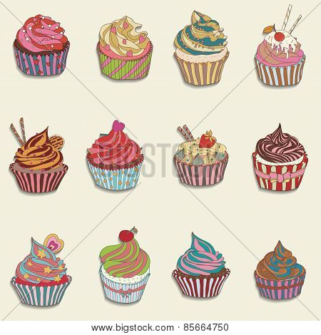 Cupcake Colorful Icon.