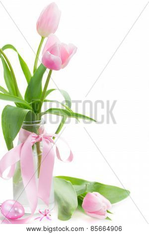 pink tulips posy