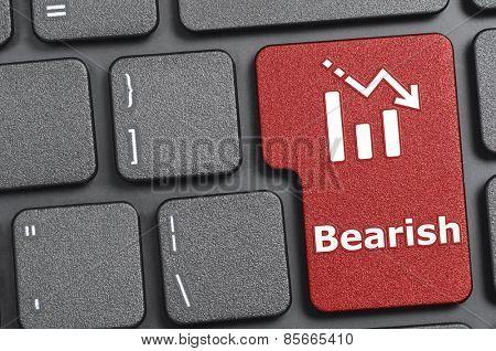 Red bearish key on keyboard
