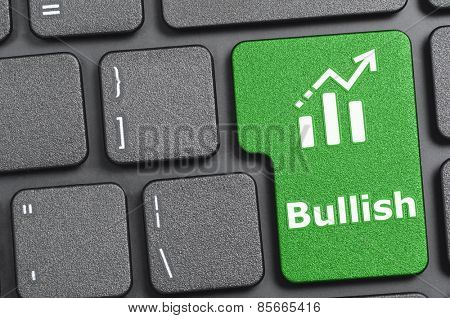 Green bullish key on keyboard