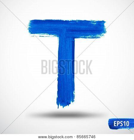 Alphabet Letter T. Watercolor Alphabet. Vector Background