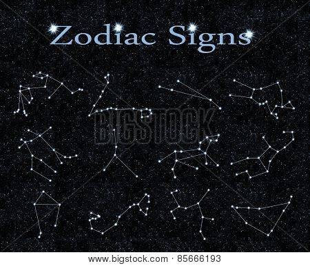 zodiac signs on the black background of the sky