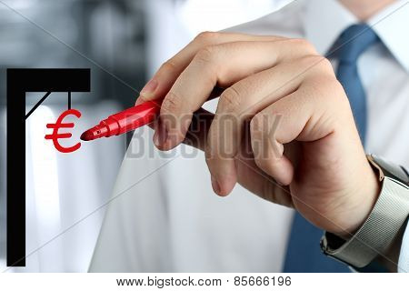 Businesswoman  Drawing A Virtual Gibbet  With Euro By  A Red Pen