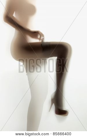 Silhouette Photo Of Sexy Woman Putting On Nylon Stockings