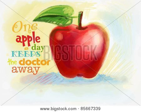 red juicy apple drawn with crayons