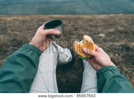 Man Have Lunch On Nature
