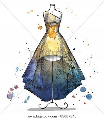 Mannequin with a long dress. Fashion illustration