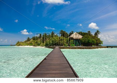 The path to the island over the water