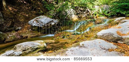 Mountain stream on rock
