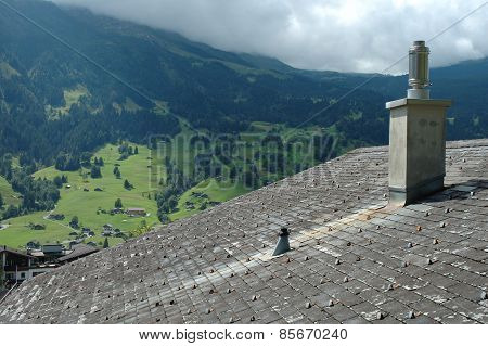 Tiled Roof And Mountain View