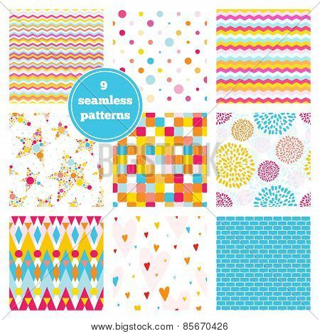 Vector Set Of Nine Rainbow Seamless Patterns - Chevron, Hearts, Stars, Dots, etc